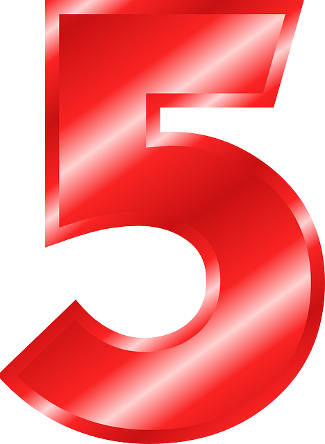 Red 5 png. Number