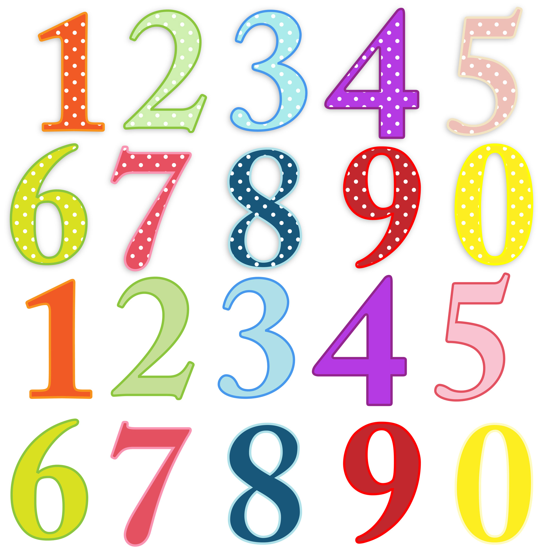Number clipart. Numbers colorful clip art