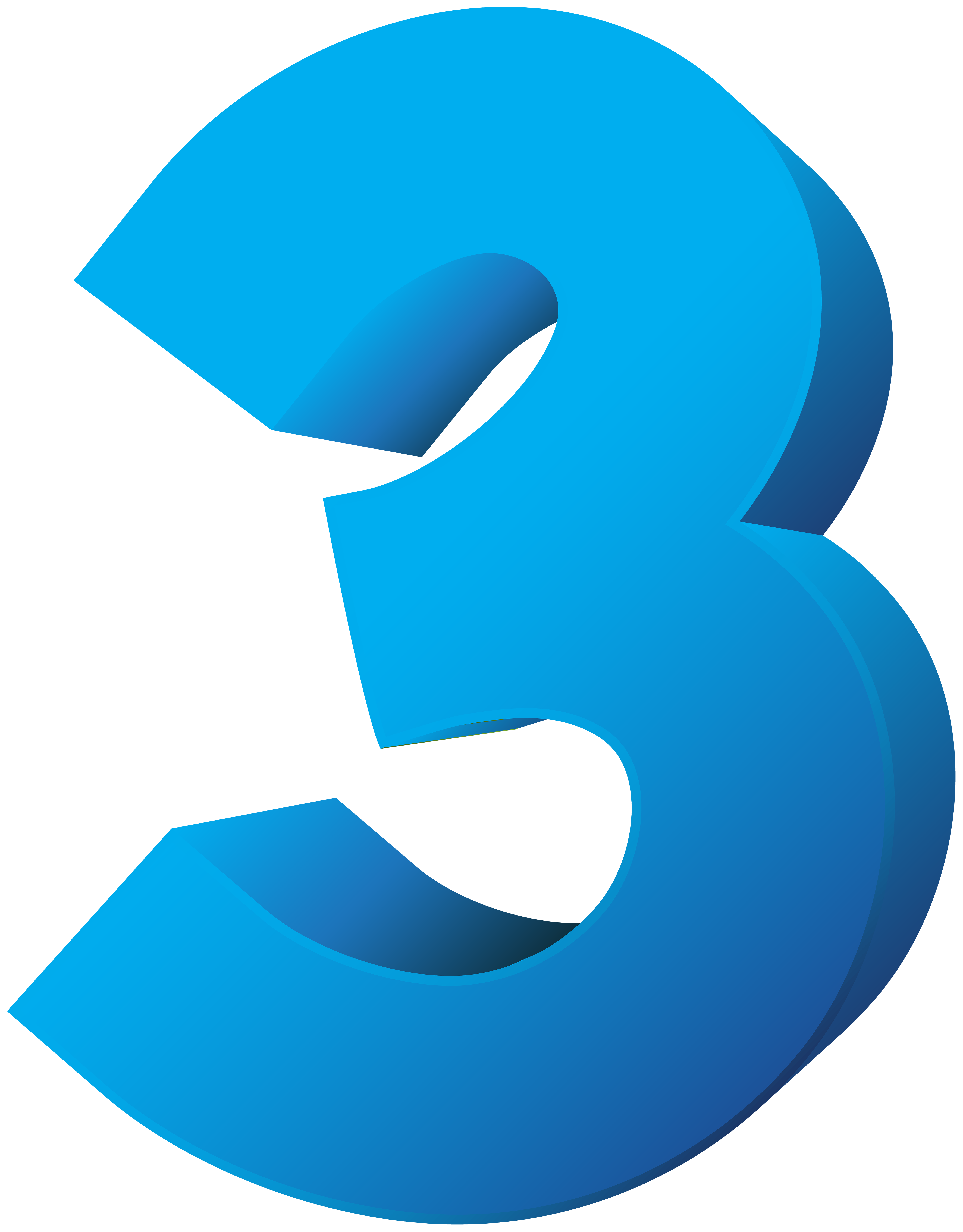 Numbers clipart three. Blue number transparent png