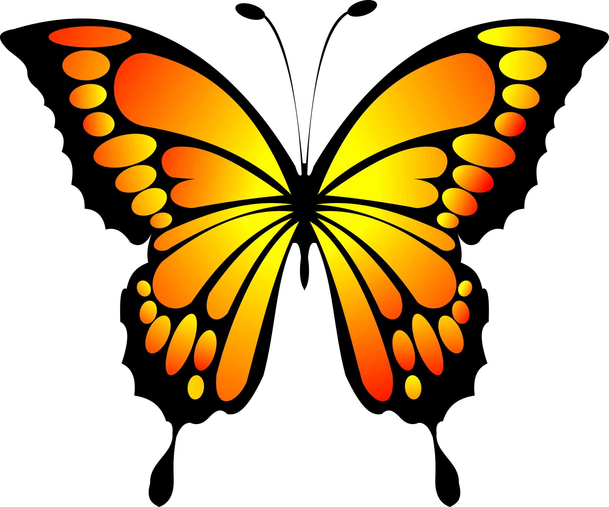 Photo clipart butterfly. Yellow red big image