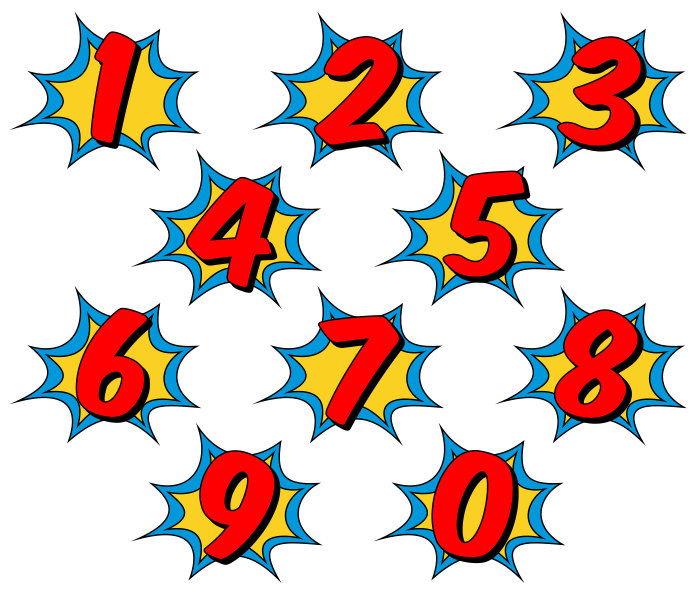 Number clipart superhero. Comic book clip art