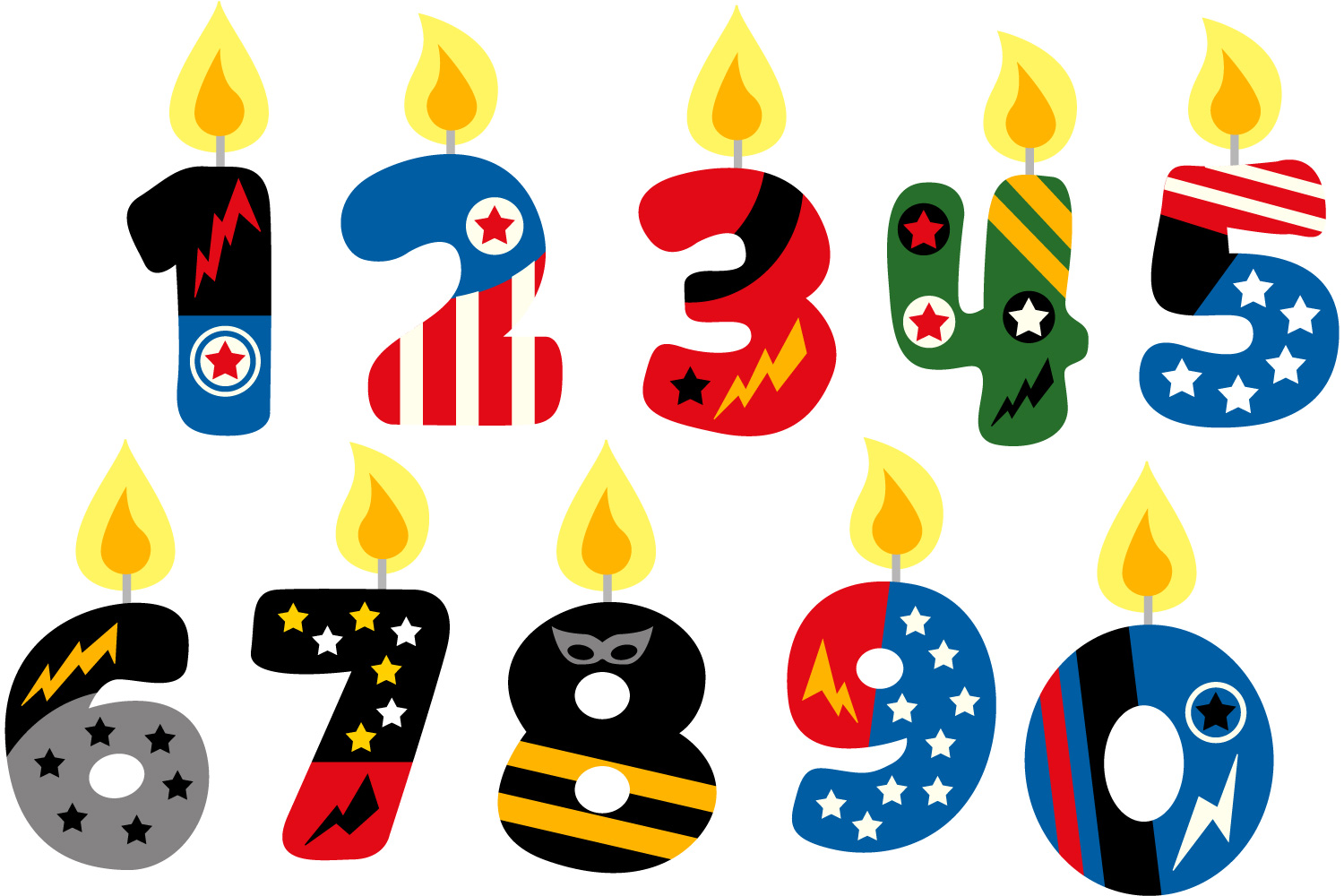 Number clipart superhero. Birthday candles graph design