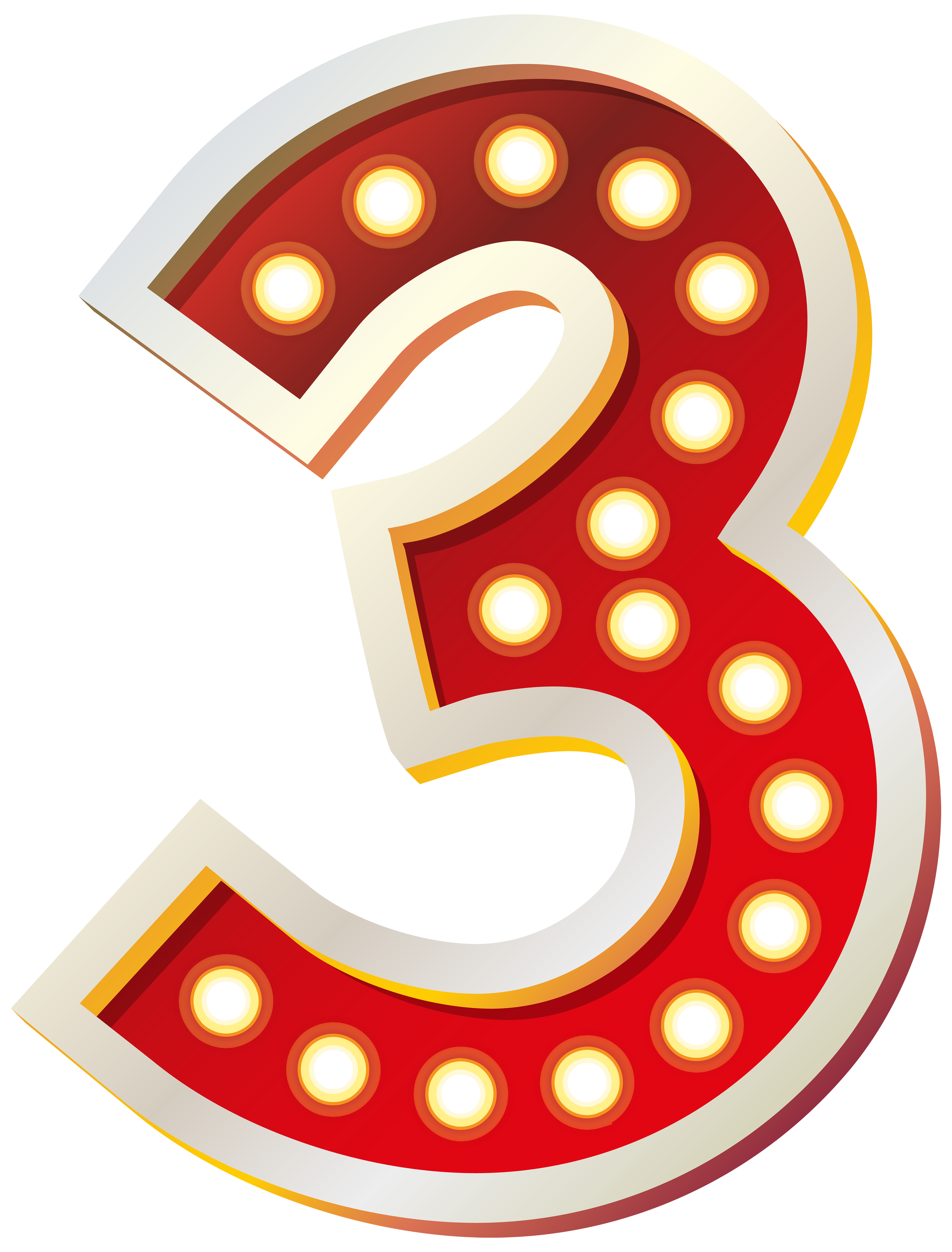 Red number with lights. Numbers clipart three graphic freeuse