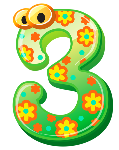 Numbers clipart three. Cute number png image