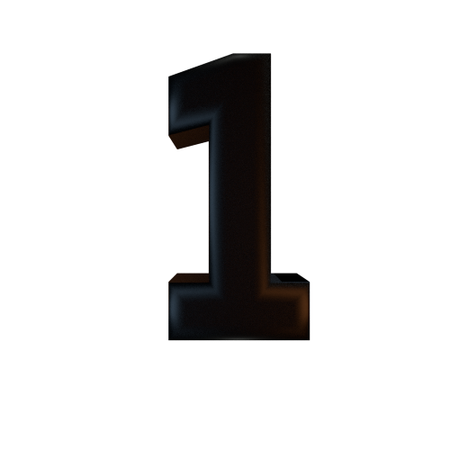Numbers 1 png. Black semi glossy texture