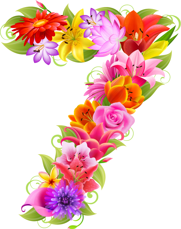 Numbers clipart floral. E c a