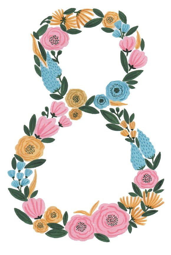 Numbers clipart floral. Number eight print watercolo
