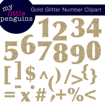 Numbers clipart glitter. Gold and symbols math