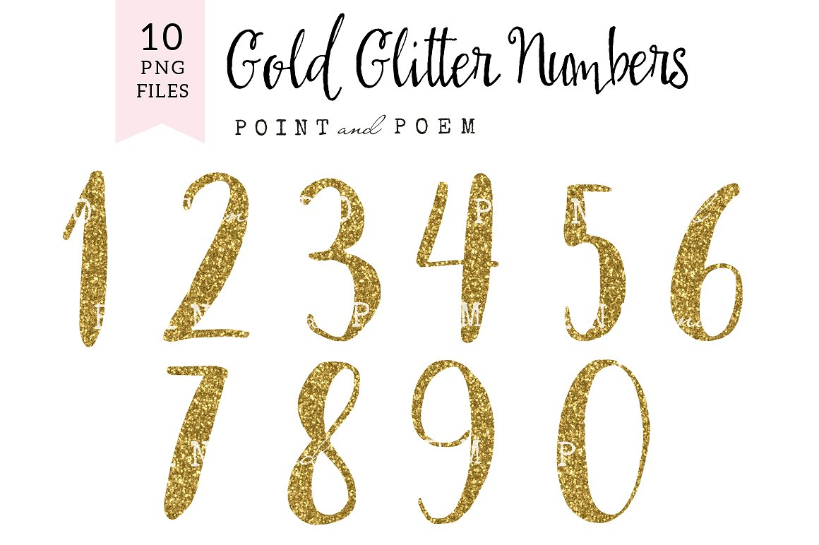 1 clipart gold glitter. Numbers clip arts illustrations