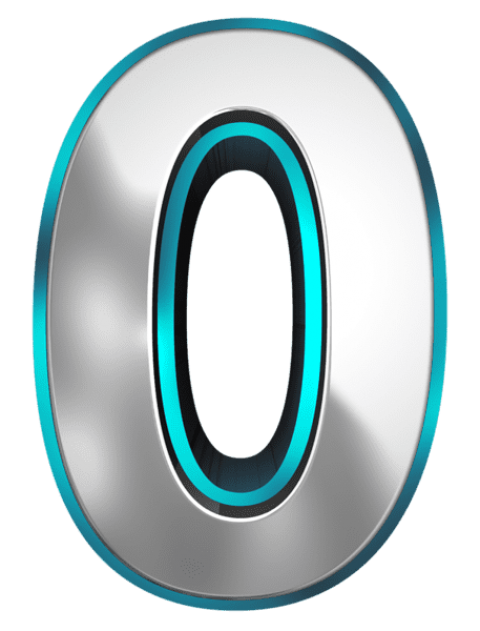 Zero transparent number. Metallic and blue png