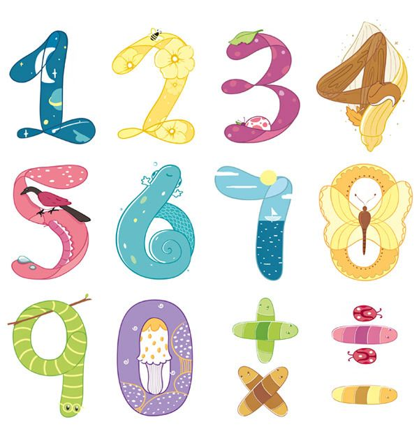 Numbers clipart natural number. Alexander bielovich illustration pinterest