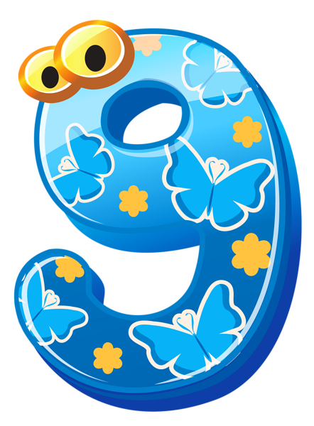 Numbers clipart png. Cute number nine image