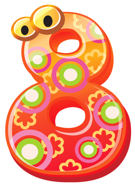 Numbers clipart png. Cute number eight image