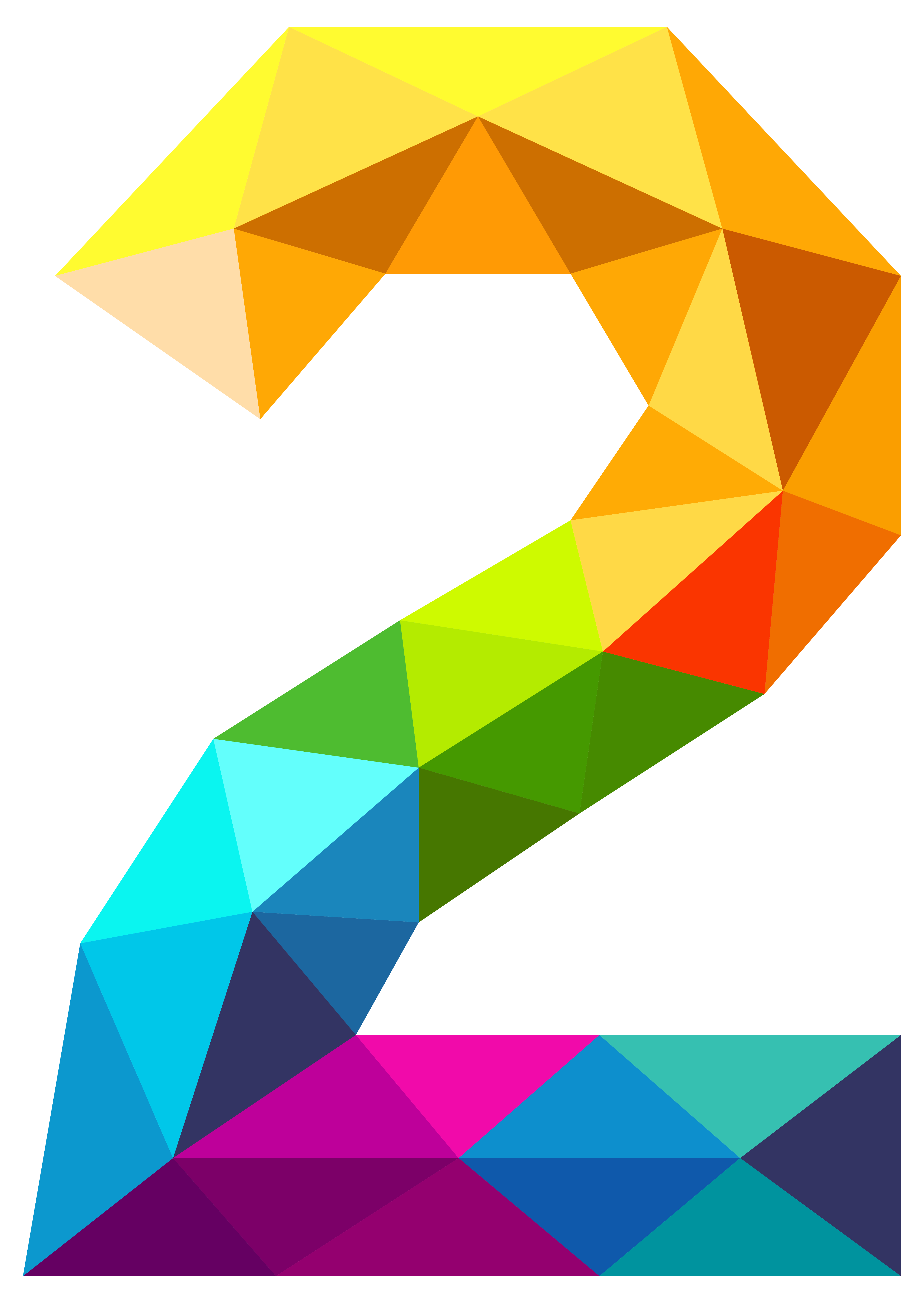 Numbers png. Colourful triangles number two