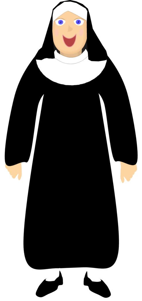Nun clipart cartoon. Free picture of download
