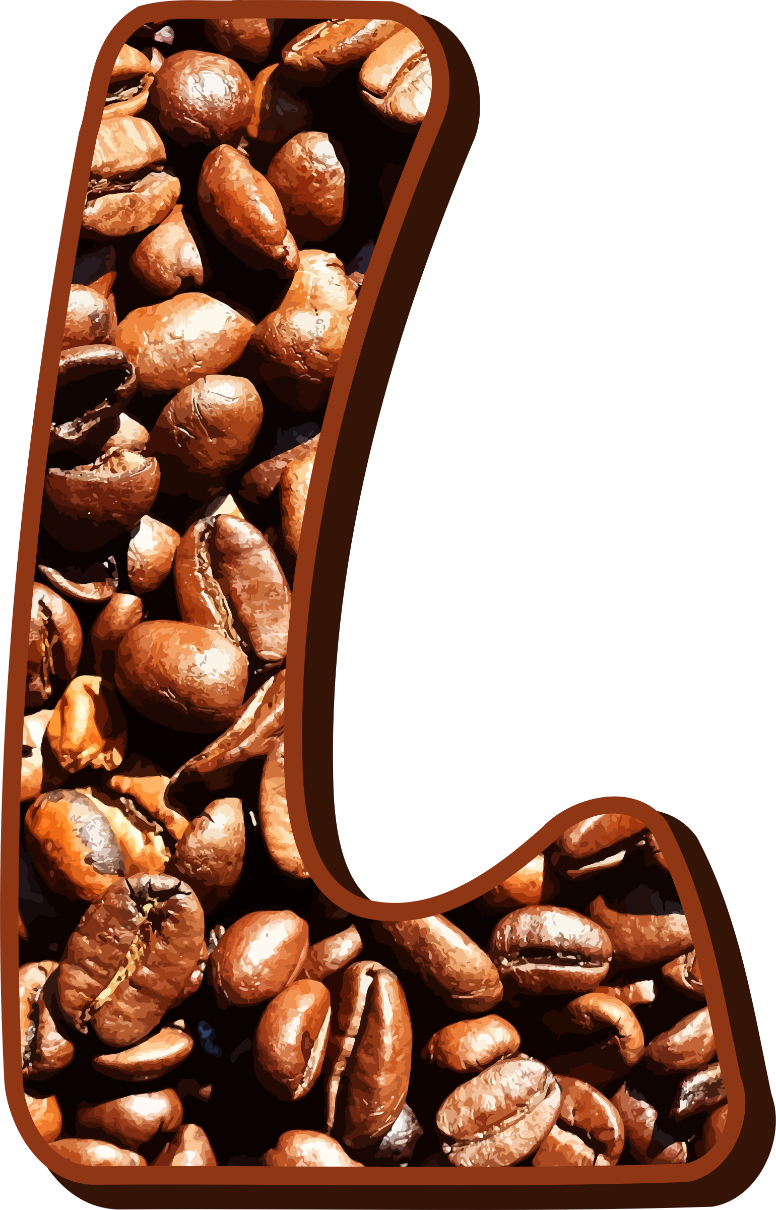 Alphabet coffee png. Clipart beans typography l