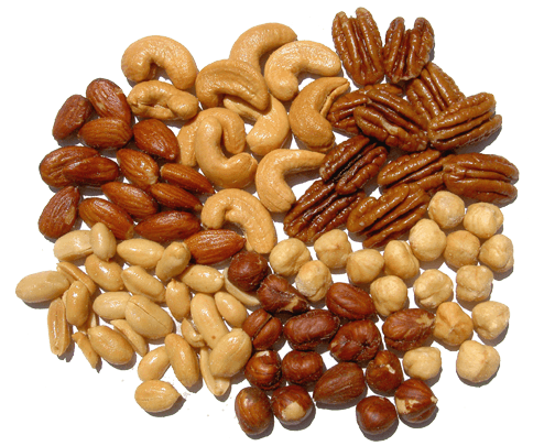 Nuts transparent roasted