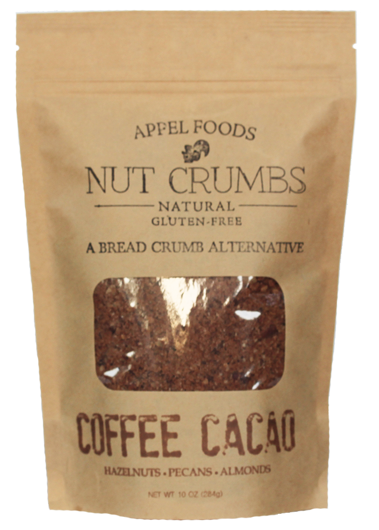 Nuts transparent crushed. Coffee cacao nut crumbs