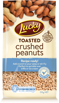 Nuts transparent crushed. Lucky toasted peanuts product