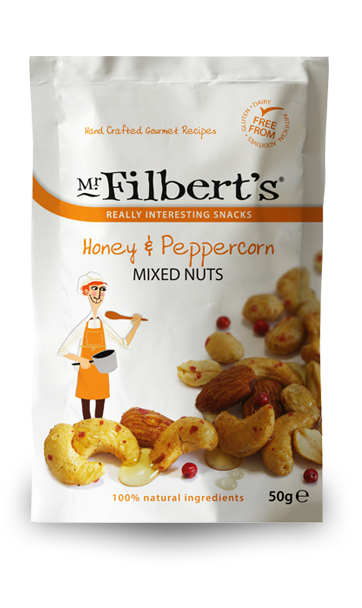 Nuts transparent crushed. Honey peppercorn mixed from