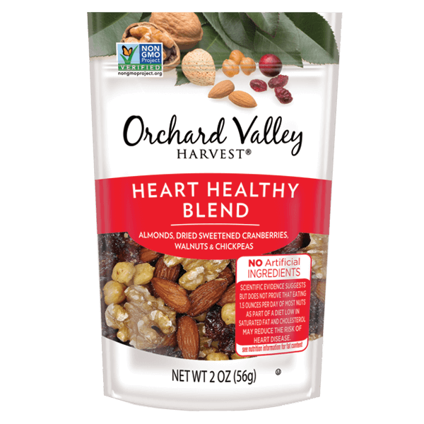 Nuts transparent healthy mix. Orchard valley harvest heart