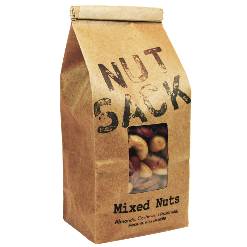 Nuts transparent healthy mix. Premium nutsack foods mixed