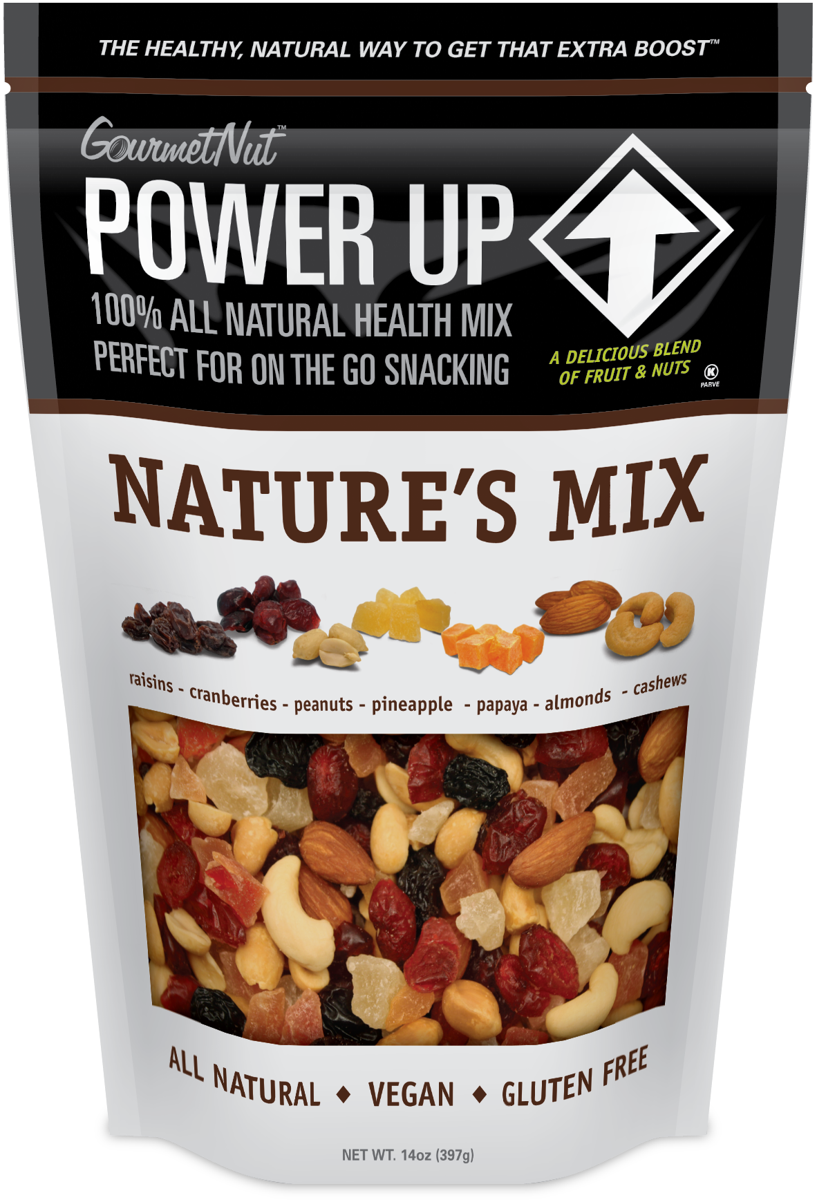 Nuts transparent healthy mix. Gourmet nut power up