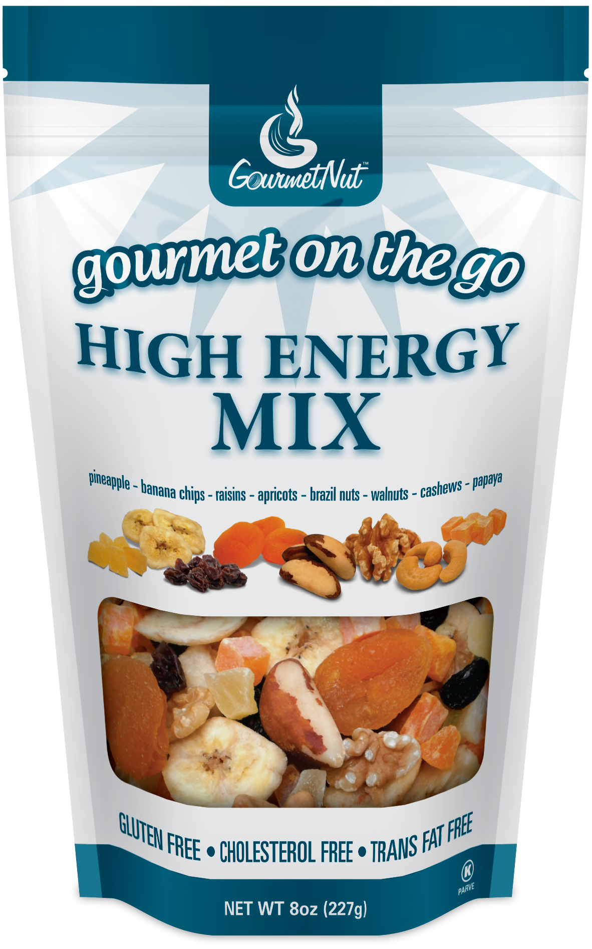 Nuts transparent healthy snack. The creative kitchen gourmet