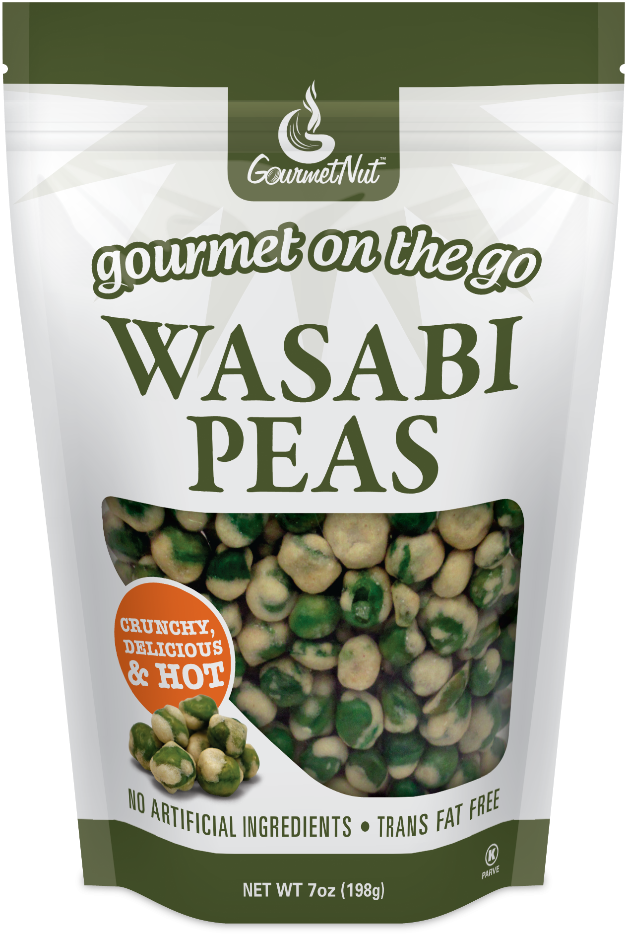 Nuts transparent pea. Wasabi peas pack