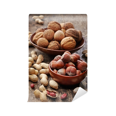 Nuts transparent wall. Various mural pixers we