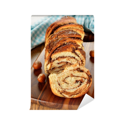 Nuts transparent wall. Twisted sweet bread with