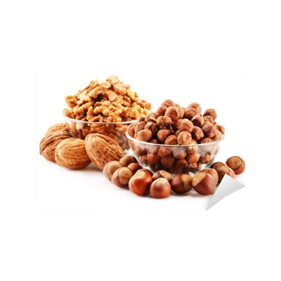 Nuts transparent wall. Composition with isolated on