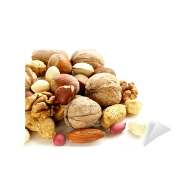 Nuts transparent wall. Assortment of different mural