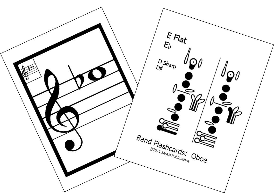 Oboe drawing. Flashcards berets publications