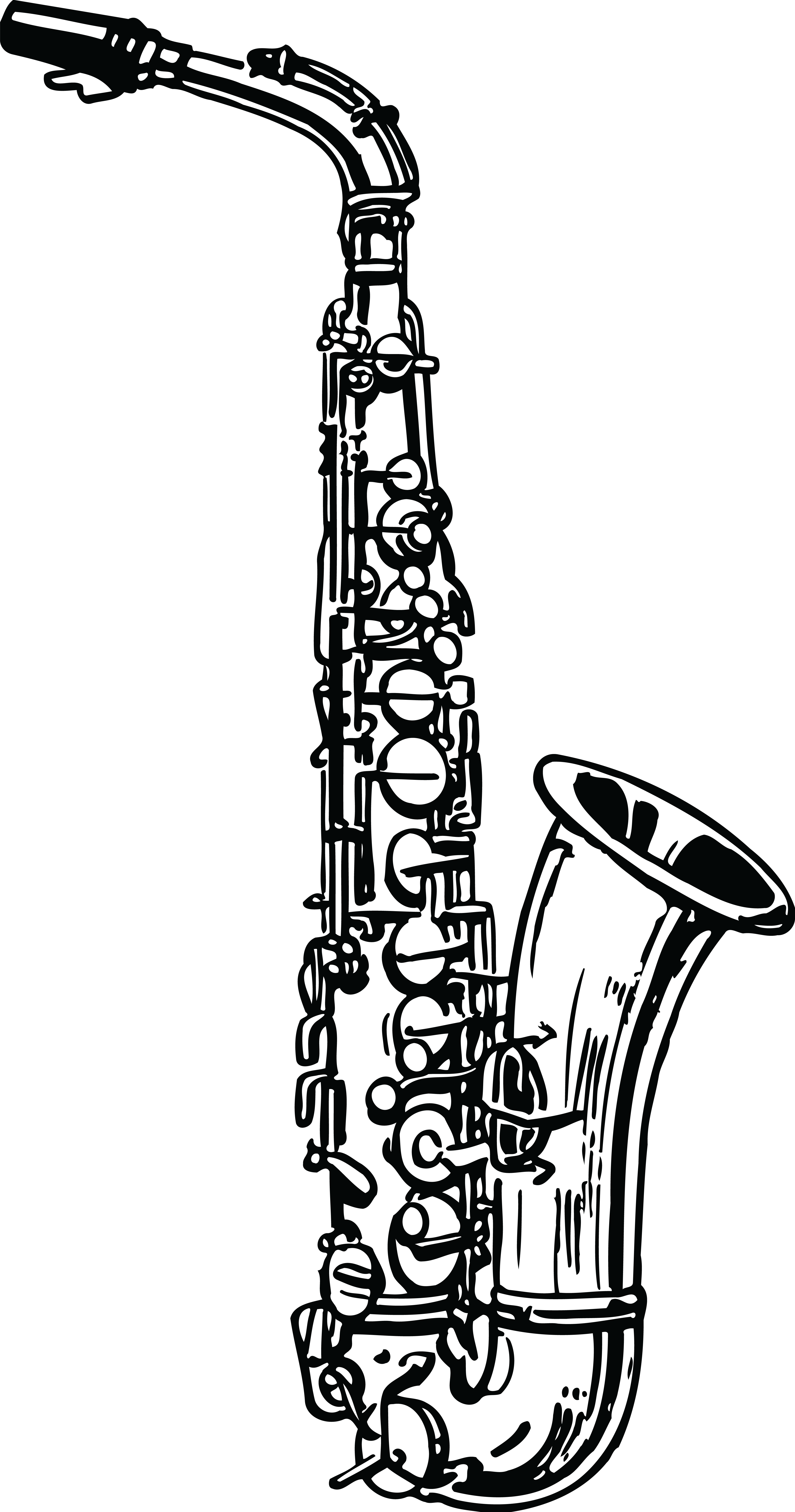 Oboe drawing black and white. Saxophone clarinet clip art