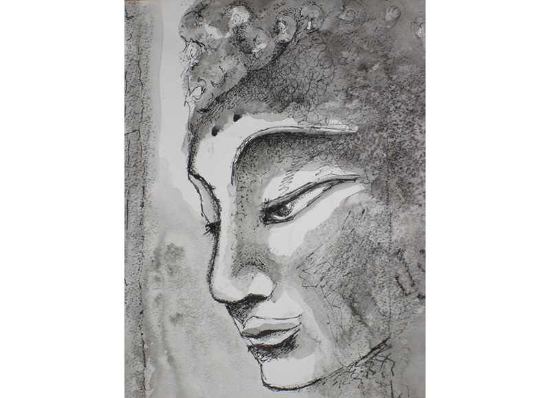 Observation drawing mixed media. Charcoal ink conte sujata