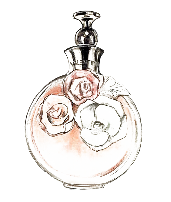 Chanel drawing watercolor. No perfume painting transprent