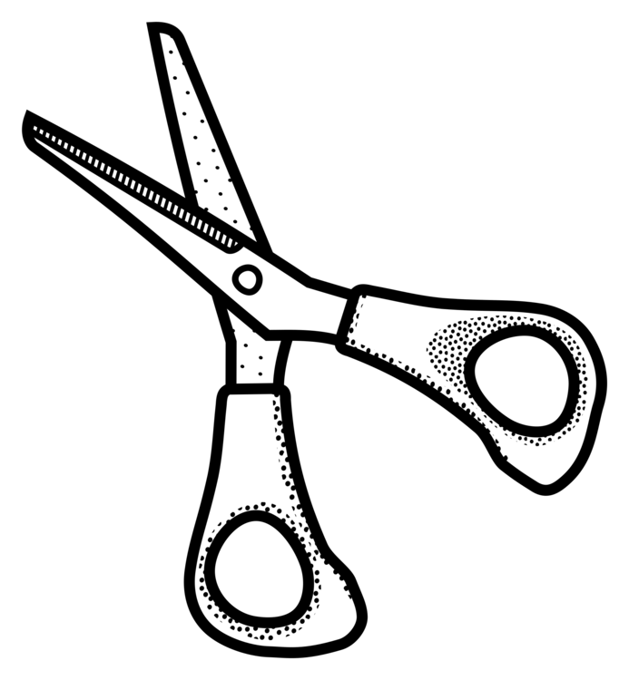 Observation drawing scissor. Black and white scissors