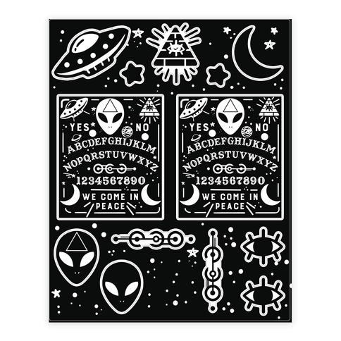 Occult drawing poster. Alien ouija board sticker