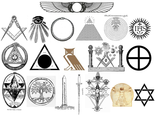 Occult drawing crown. Symbols and images in
