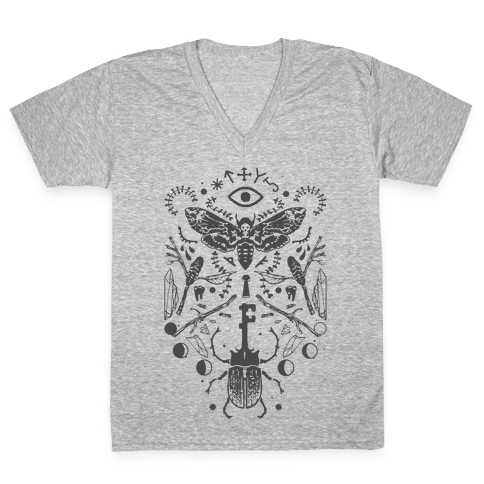 Occult drawing sketch. Patterns v neck tee