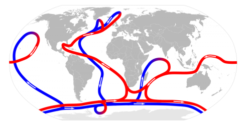 Convection drawing ocean current. Climate change caused by