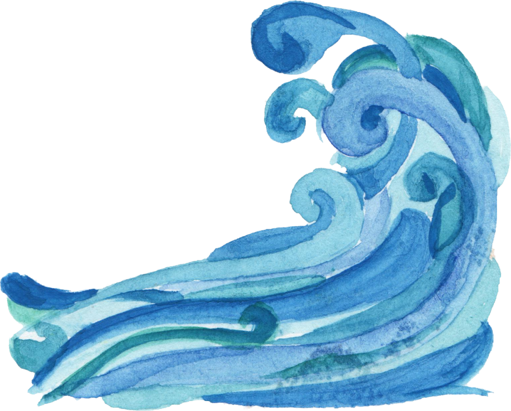 Ocean waves png. Watercolor wave transparent