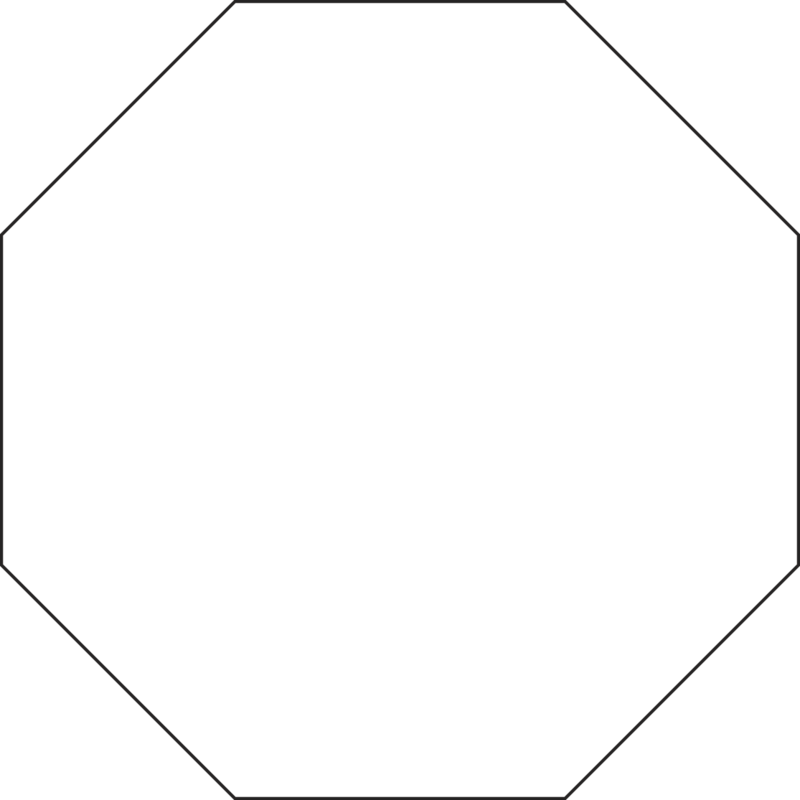 Octagon transparent figure. Regular and irregular polygons