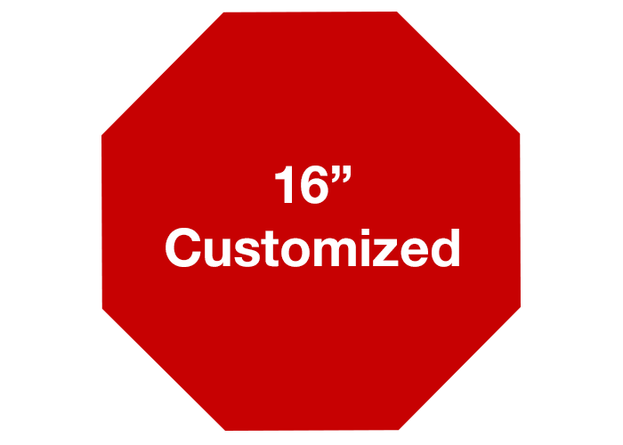 Octagon transparent red. Customized safety floor signs