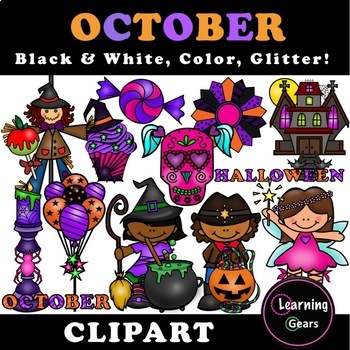 October clipart black and white. Color glitter by learning