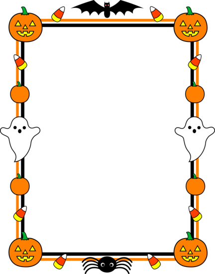 October clipart boarder. Free halloween page borders