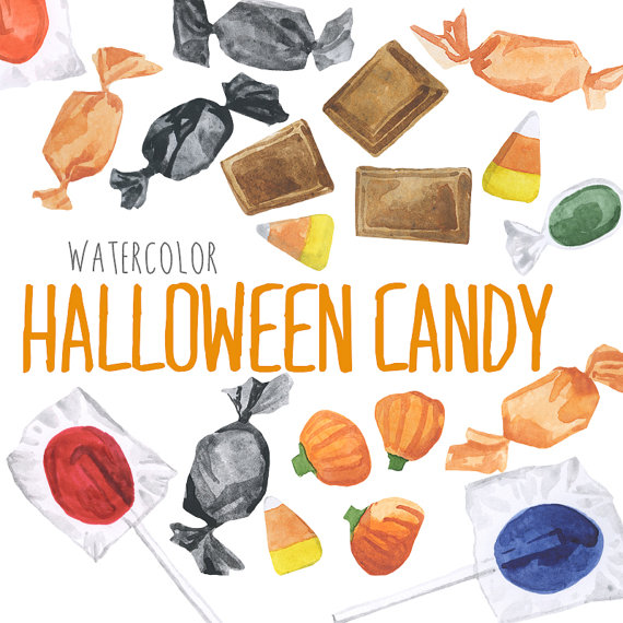 October clipart candy. Watercolor halloween clip art