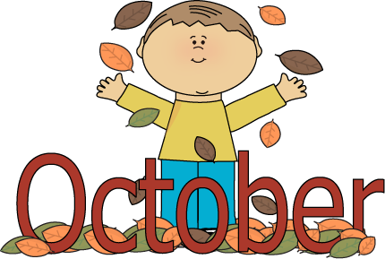 October clipart kids. Autumn month clip art