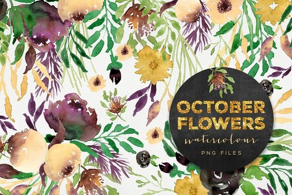 October clipart october flower. Flowers pinterest watercolor hand